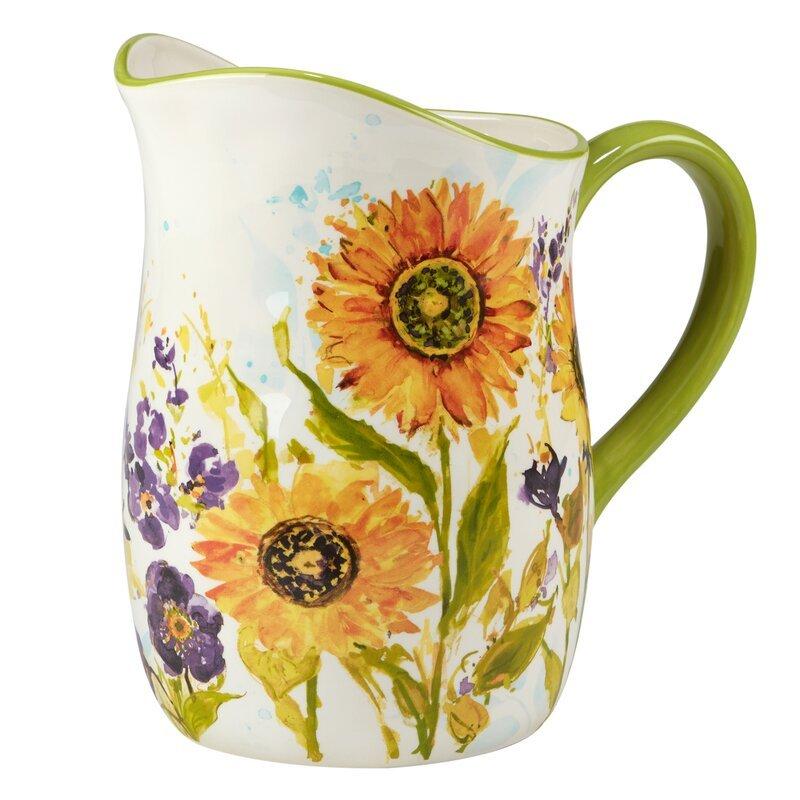 fall decor ideas - sunflower water pitcher