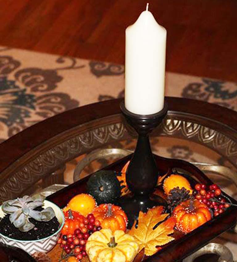 fall decor ideas decorative tray of mini pumpkins and gourds