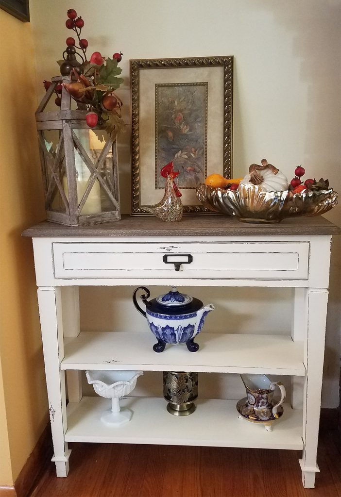 console table styled for fall