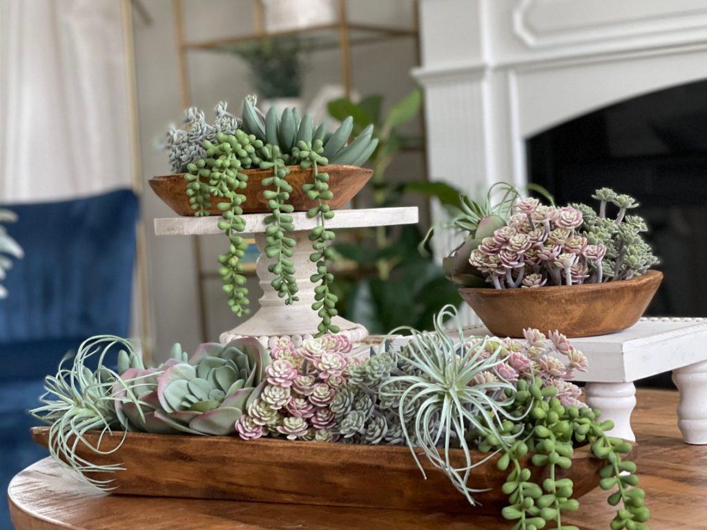 Dough Bowls With Succulents