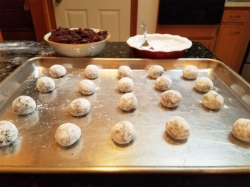 Cookies n' Creme Chocolate Crinkle Cookies on Baking Tray