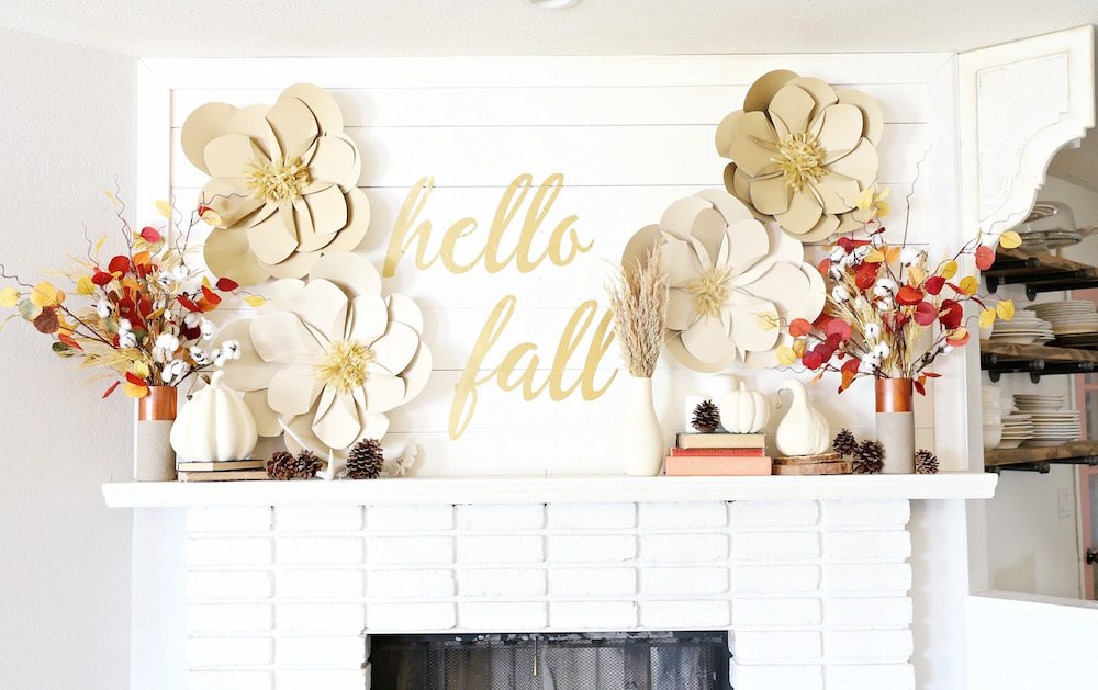 DIY Fall Mantel using Spray Painted Decor